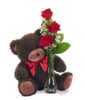 3680 - 3 Red Roses and Small Teddy Bear
