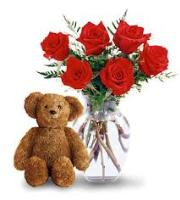 3661 - 6 Red Roses and Teddy Bear